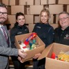 TWENTY FOOT CONTAINER IS FILLED WITH THOUSANDS OF FOOD ITEMS FOR CHARITY